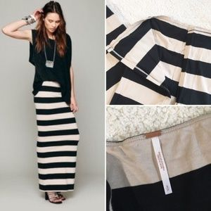 Free People Maxi Rugby Striped Column Skirt S Slit